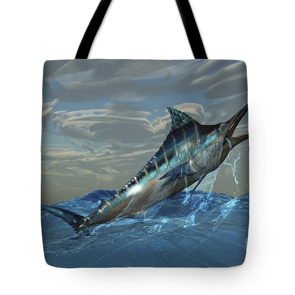 An Iridescent Blue Marlin Bursts Tote Bag by Corey Ford