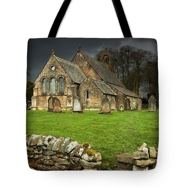 An Old Church Under A Dark Sky Tote Bag by John Short