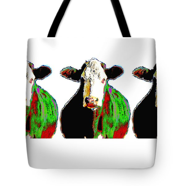 Animals Cows Three Pop Art Cows Warhol Style Tote Bag by Ann Powell