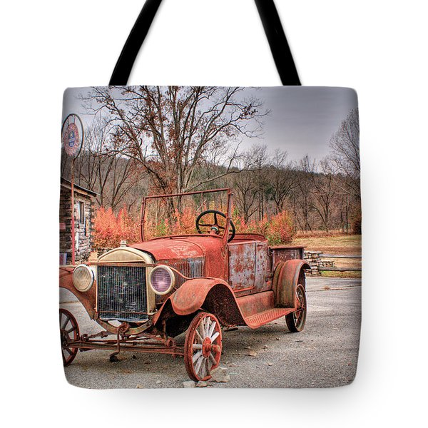 Antique Car And Filling Station 1 Tote Bag by Douglas Barnett