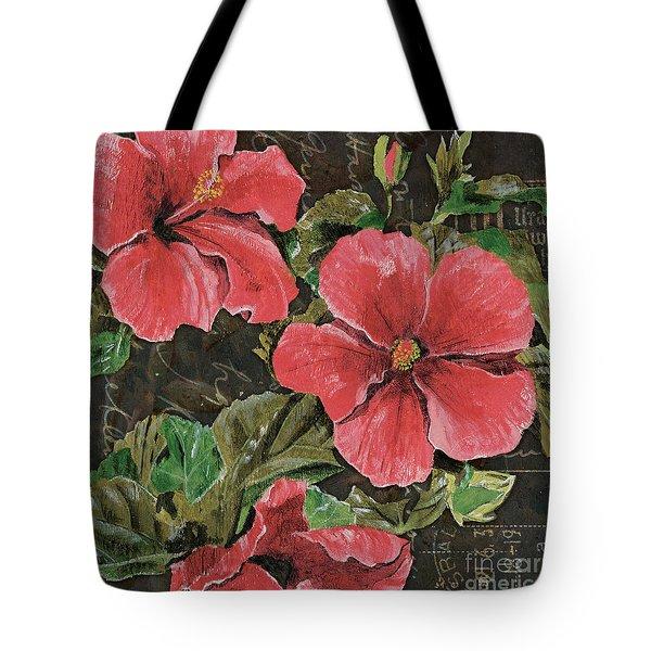 Antique Hibiscus Black 2 Tote Bag by Debbie DeWitt
