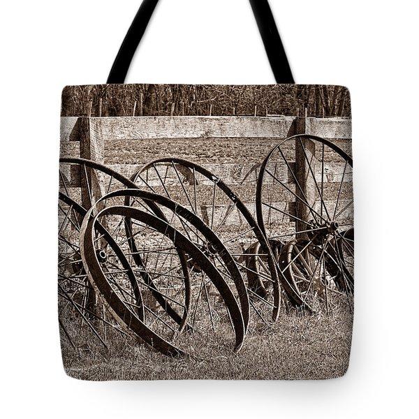 Antique Wagon Wheels I Tote Bag by Tom Mc Nemar