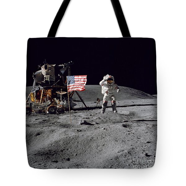 Apollo 16 Astronaut Leaps Tote Bag by Stocktrek Images