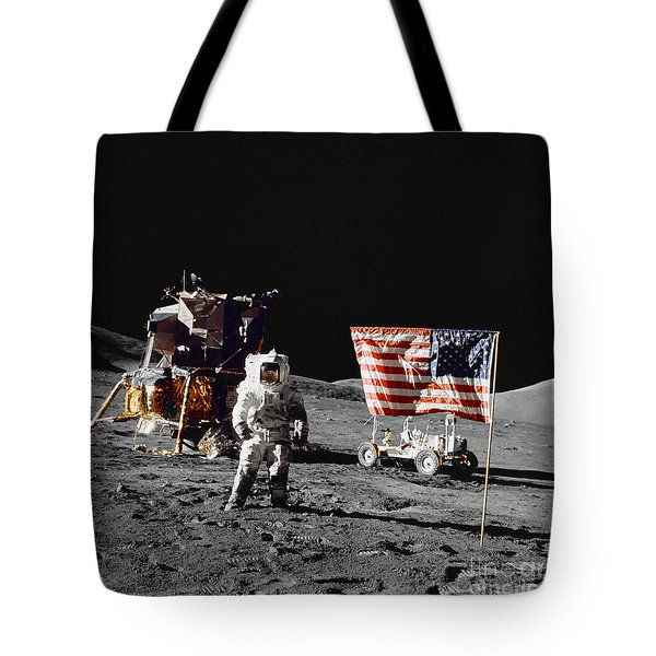Apollo 17 Astronaut Stands Tote Bag by Stocktrek Images