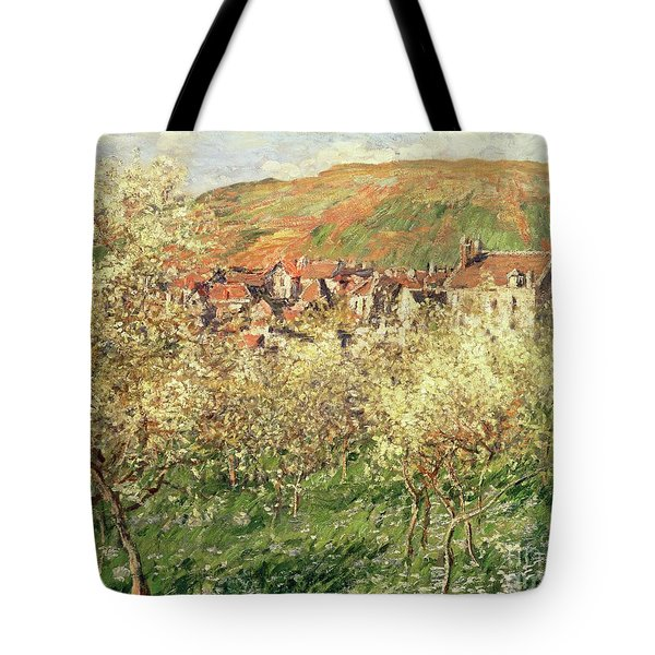 Apple Trees In Blossom Tote Bag by Claude Monet