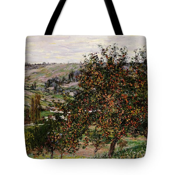 Apple Trees Near Vetheuil Tote Bag by Claude Monet