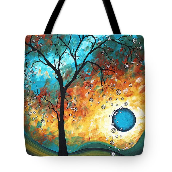 Aqua Burn by MADART Tote Bag by Megan Duncanson
