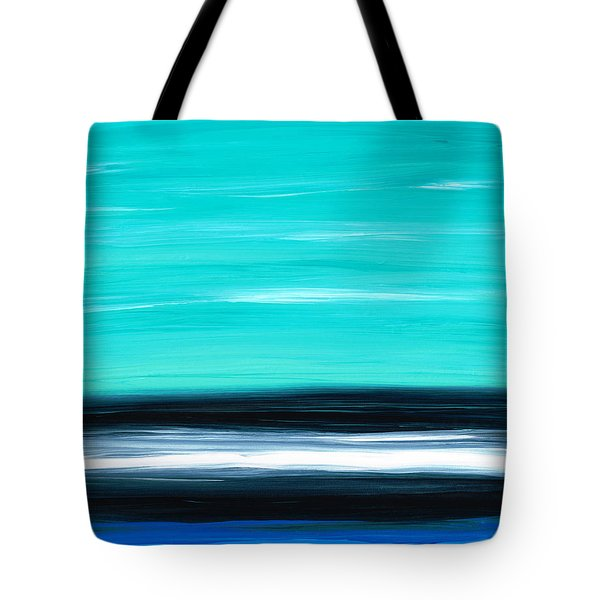 Aqua Sky - Bold Abstract Landscape Art Tote Bag by Sharon Cummings