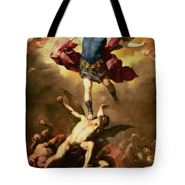 Archangel Michael Overthrows The Rebel Angel Tote Bag by Luca Giordano