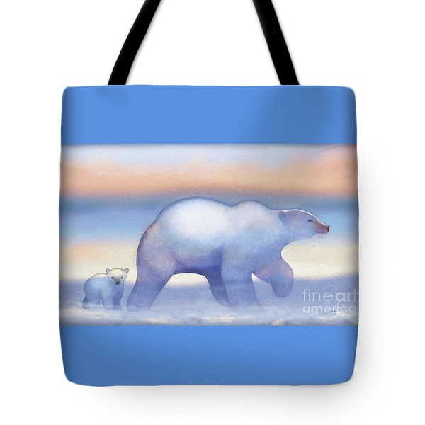Arctic Bears, Journeys Bright Tote Bag by Tracy Herrmann