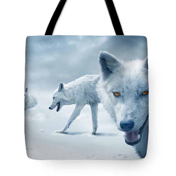 Arctic Wolves Tote Bag by Mal Bray
