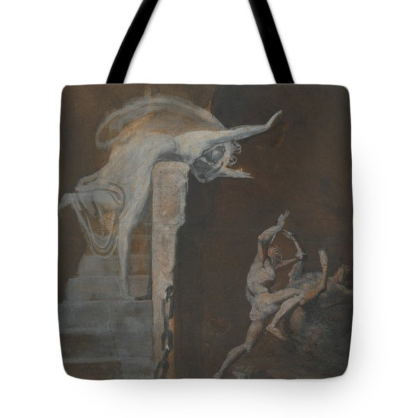 Ariadne Watching The Struggle Of Theseus With The Minotaur Tote Bag by Henry Fuseli