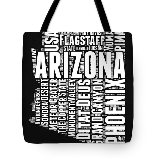 Arizona Black And White Word Cloud Map Tote Bag by Naxart Studio