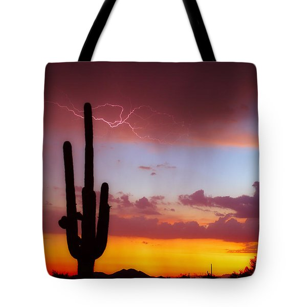 Arizona Lightning Sunset Tote Bag by James BO  Insogna