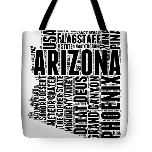 Arizona Word Cloud Map 2 Tote Bag by Naxart Studio