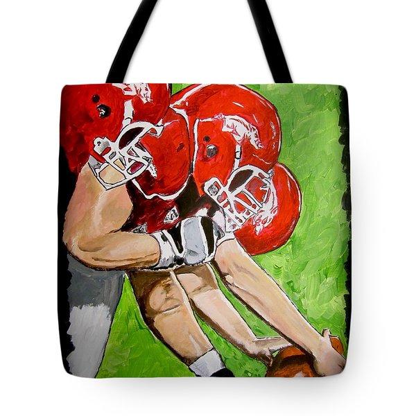 Arkansas Razorbacks Football Tote Bag by Carol Blackhurst