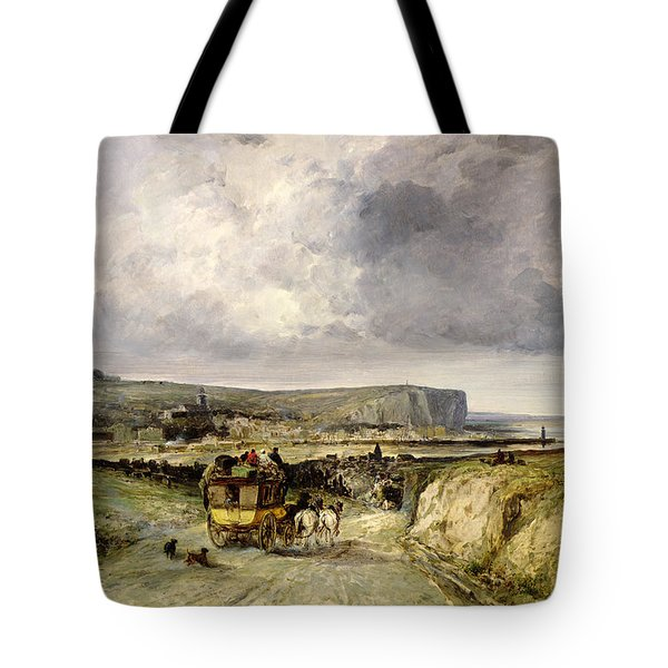 Arrival Of A Stagecoach At Treport Tote Bag by Jules Achille Noel
