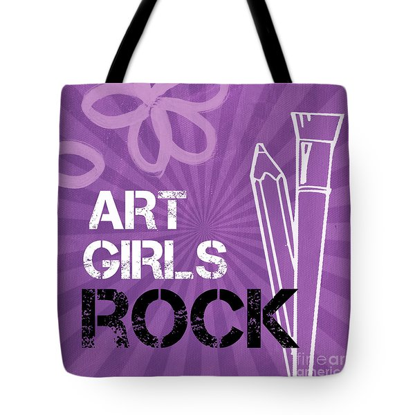 Art Girls Rock Tote Bag by Linda Woods