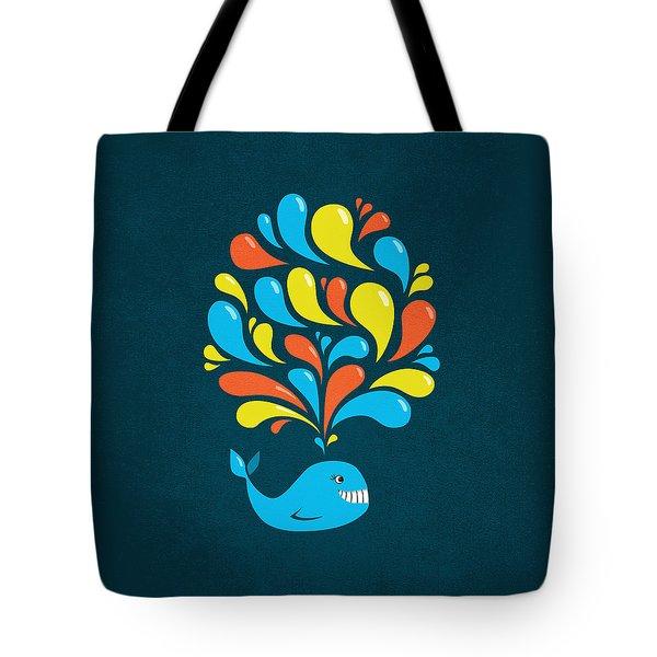 Dark Colorful Splash Happy Cartoon Whale Tote Bag by Boriana Giormova