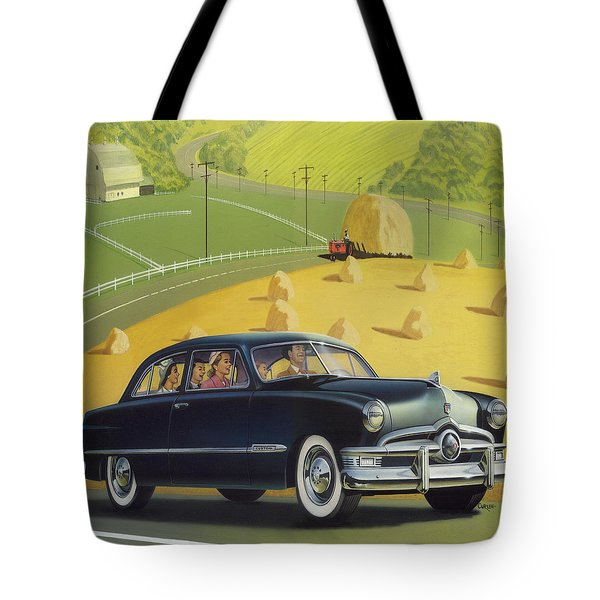 1950 Custom Ford Rustic Rural Country Farm Scene Americana Antique Car Watercolor Painting Tote Bag by Walt Curlee