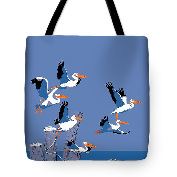 abstract Pelicans seascape tropical pop art nouveau 1980s florida birds large retro painting  Tote Bag by Walt Curlee