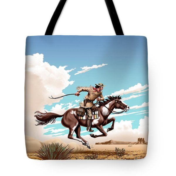 Pony Express Rider Historical Americana Painting Desert Scene Tote Bag by Walt Curlee