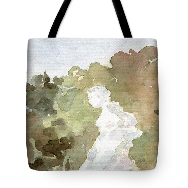 Statue Of A Woman Watercolor Paintings Of France Tote Bag by Beverly Brown Prints