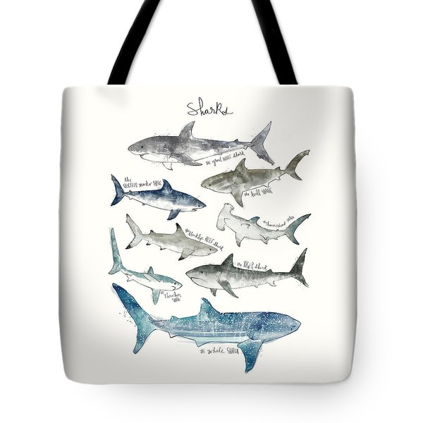 Sharks Tote Bag by Amy Hamilton