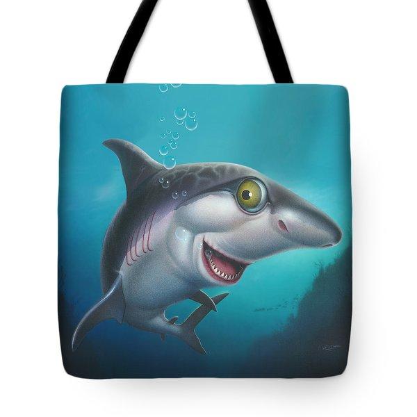 friendly Shark Cartoony cartoon under sea ocean underwater scene art print blue grey  Tote Bag by Walt Curlee