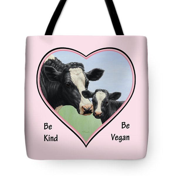 Holstein Cow And Calf Pink Heart Vegan Tote Bag by Crista Forest