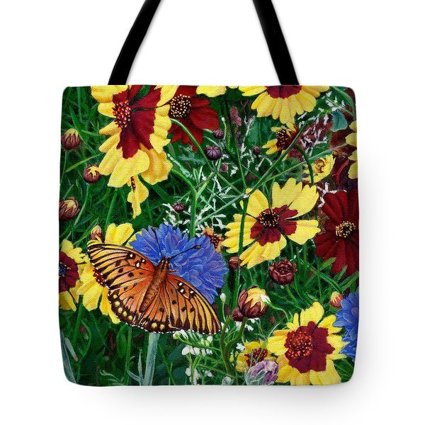 Butterfly Wildflowers Garden Oil Painting Floral Green Blue Orange-2 Tote Bag by Walt Curlee