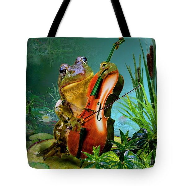 Humorous scene frog playing cello in lily pond Tote Bag by Gina Femrite