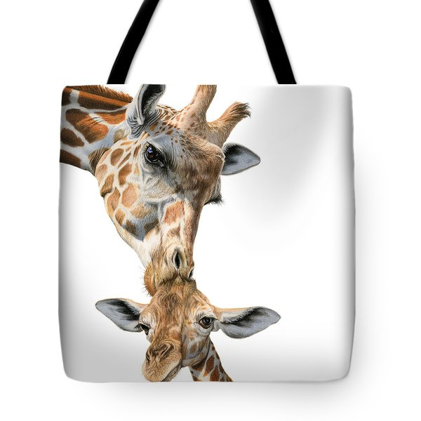 Mother And Baby Giraffe Tote Bag by Sarah Batalka