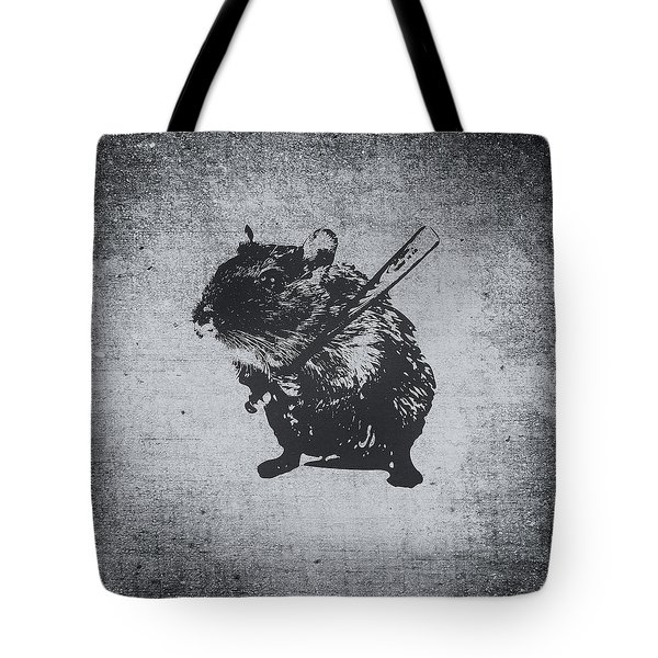 Angry Street Art Mouse  Hamster Baseball Edit  Tote Bag by Philipp Rietz