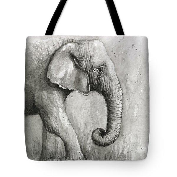 Elephant Watercolor Tote Bag by Olga Shvartsur