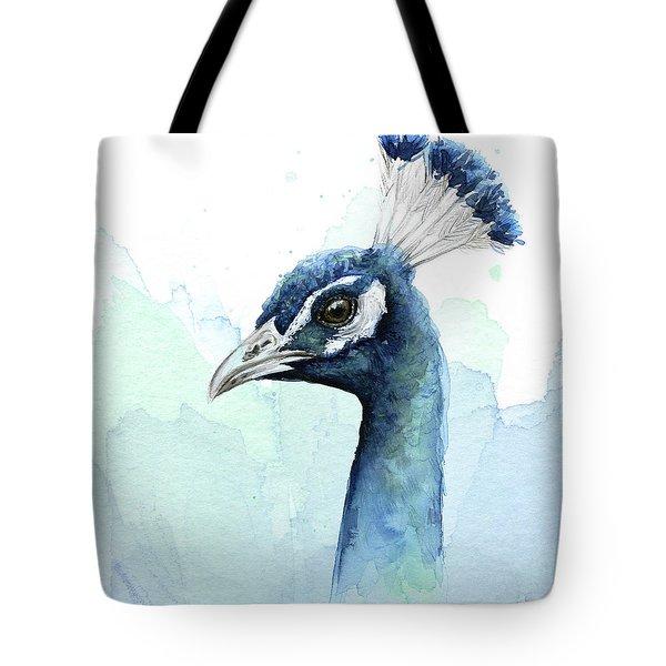 Peacock Watercolor Tote Bag by Olga Shvartsur