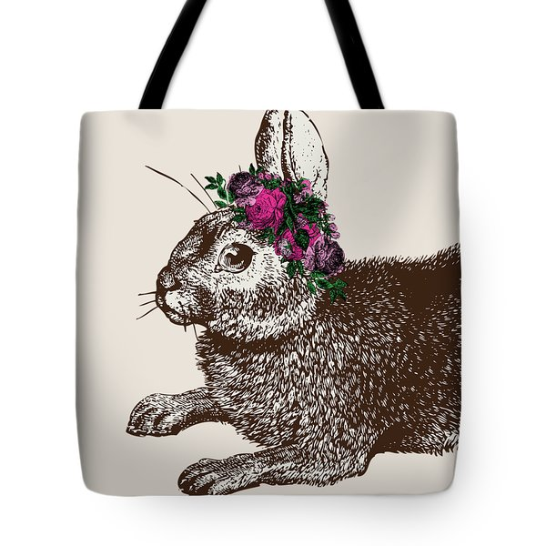 Rabbit And Roses Tote Bag by Eclectic at HeART