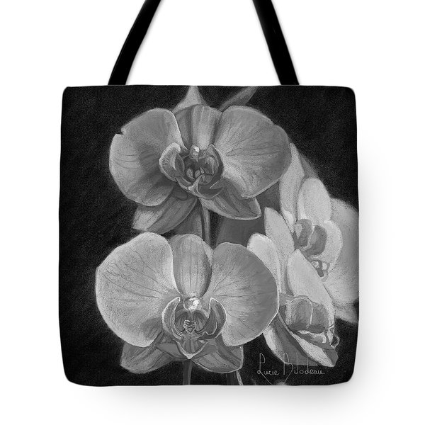 Orchids - Black And White Tote Bag by Lucie Bilodeau