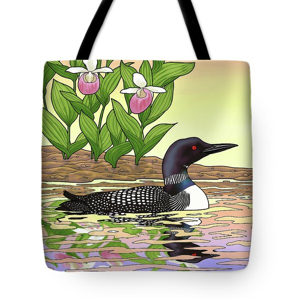 Minnesota State Bird Loon And Flower Ladyslipper Tote Bag by Crista Forest