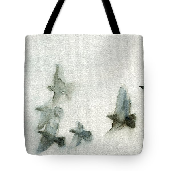 A Flock of Pigeons 1 Watercolor Painting of Birds Tote Bag by Beverly Brown Prints