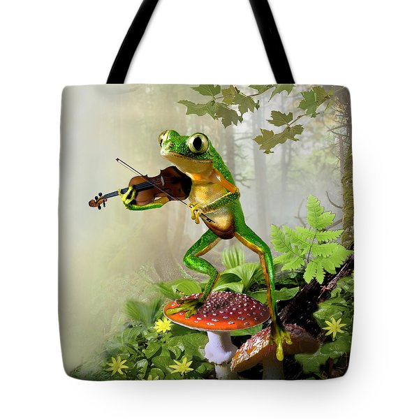 Humorous Tree Frog Playing a Fiddle Tote Bag by Gina Femrite