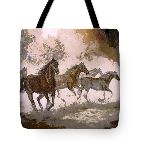 Horse Painting A dream of running wild Tote Bag by Gina Femrite