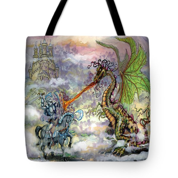 Knights n Dragons Tote Bag by Kevin Middleton