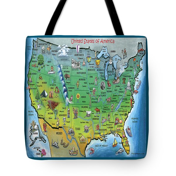 Usa Cartoon Map Tote Bag by Kevin Middleton