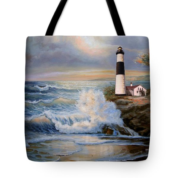 Big sable point lighthouse with crashing waves painting by - Prix big bag sable ...