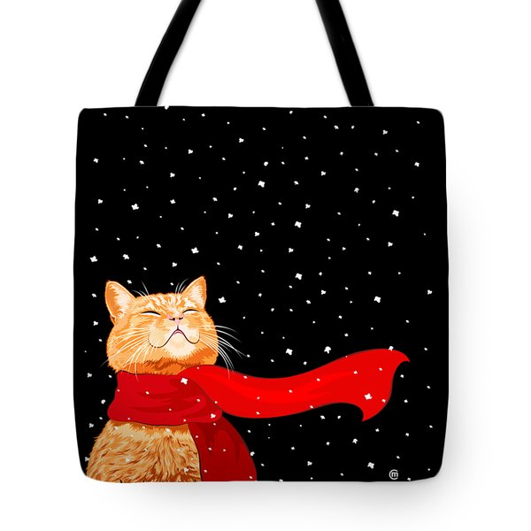 Cat With Scarf Tote Bag by Carolina Matthes