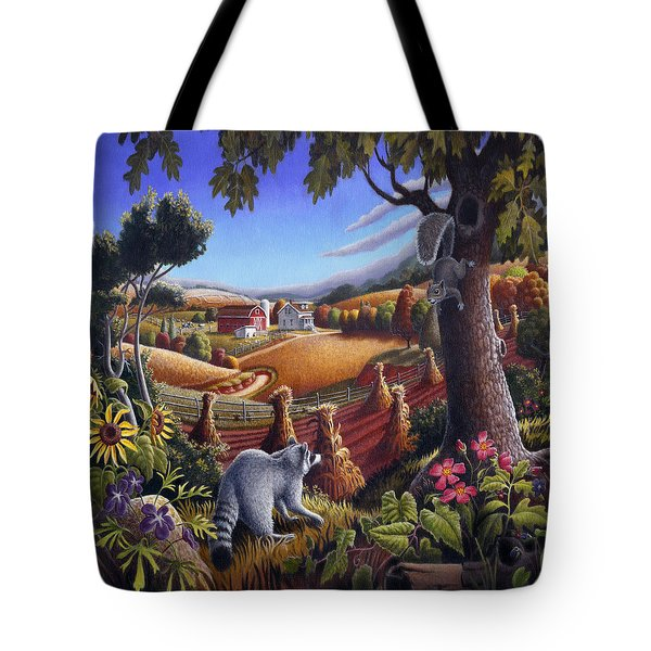 Rural Country Farm Life Landscape Folk Art Raccoon Squirrel Rustic Americana Scene  Tote Bag by Walt Curlee