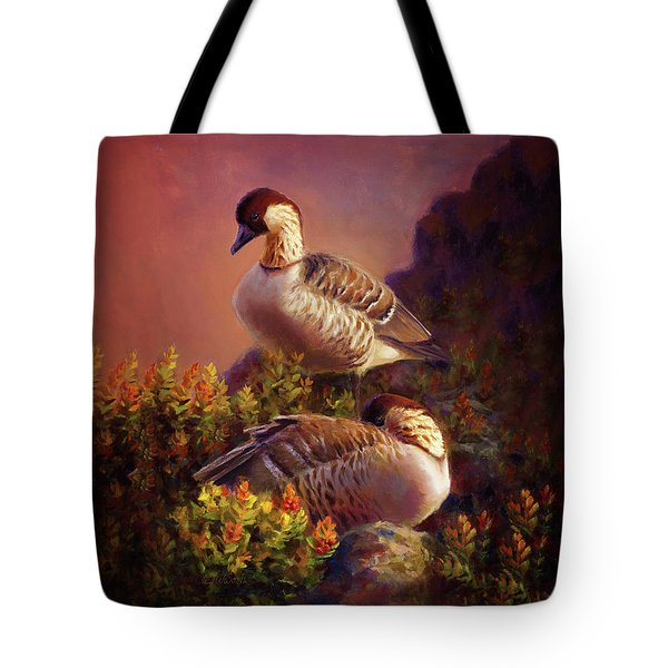 First Light Nene Hawaiian Goose Tote Bag by Karen Whitworth