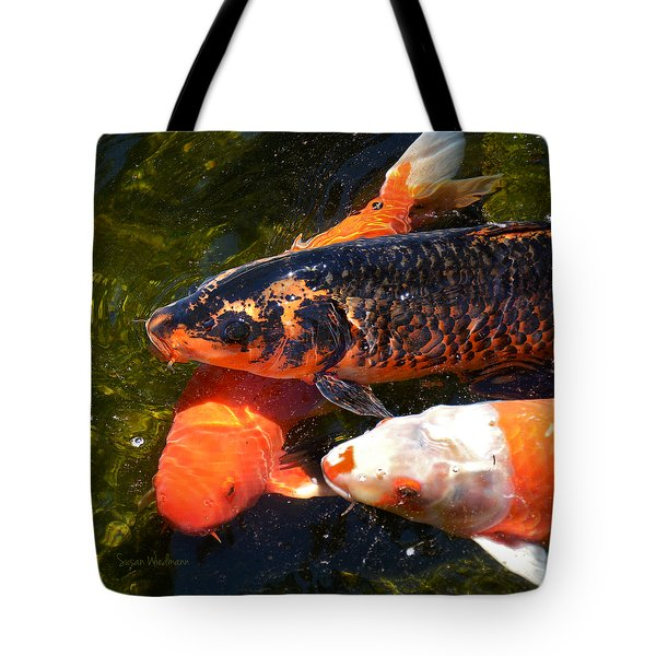 Three Koi Waiting Tote Bag by Susan Wiedmann