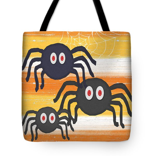 Halloween Spiders Sign Tote Bag by Linda Woods